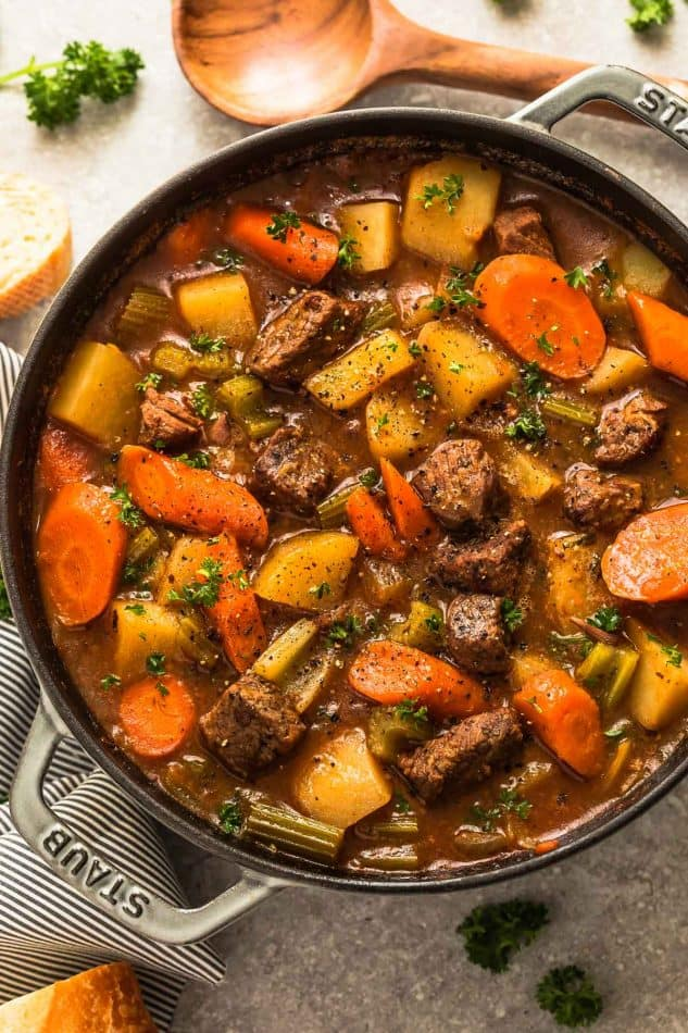 pot of beef vegetable stew - feeing a family on a budget with 10 tips for buying organic