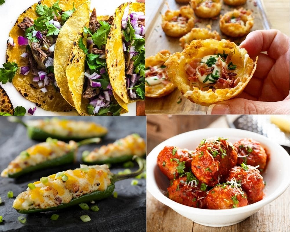 collage of shredded beef tacos loaded tater tot appetizers jalapeno poppers and meatballs