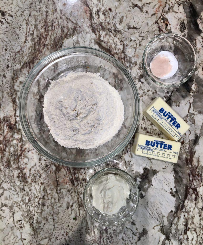 blueberry hand pie ingredients: butter, flour, salt, cream