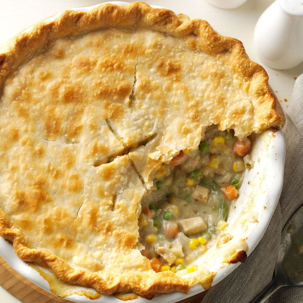 pie plate of chicken pot pie