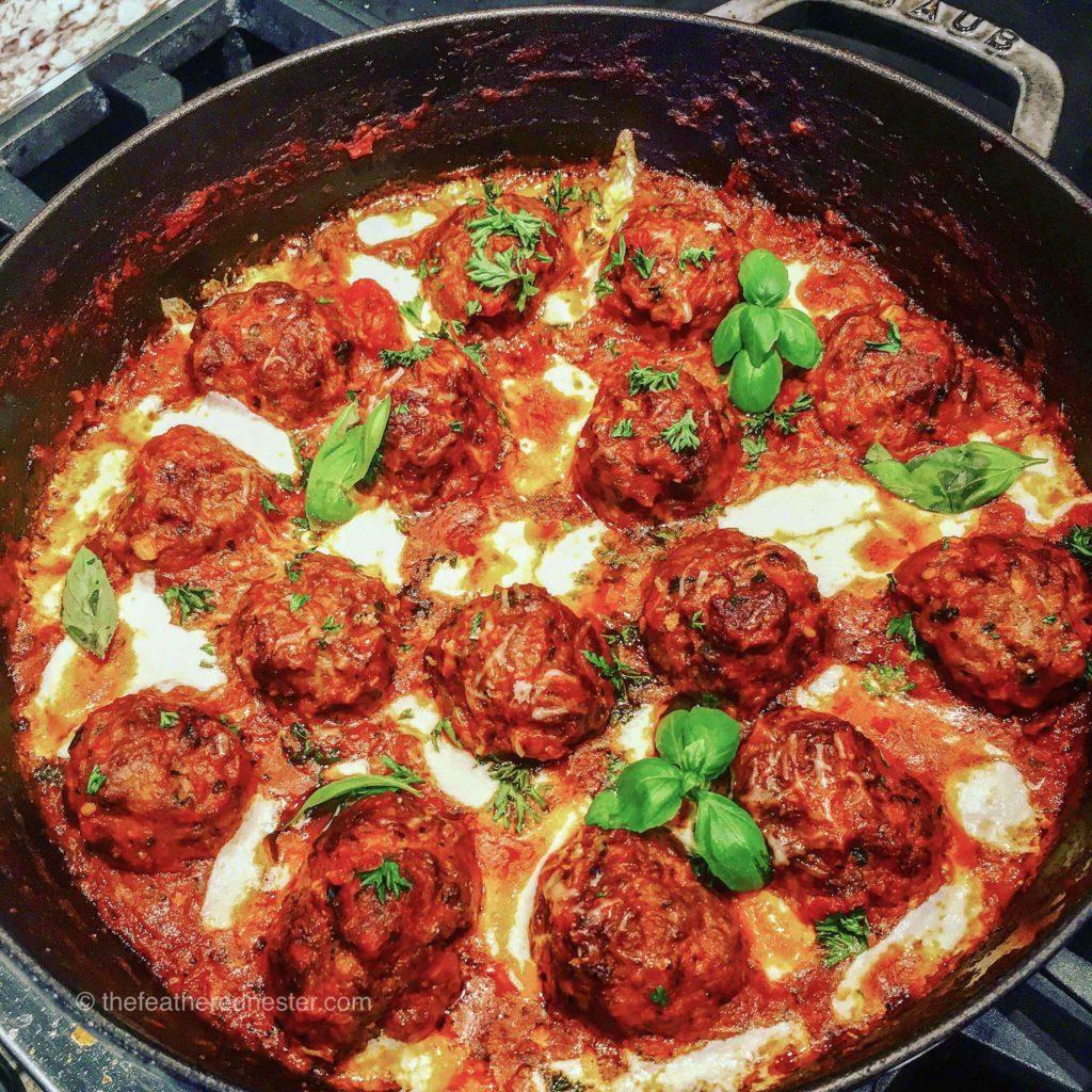 One Pot Marinara Meatballs dinner skillet