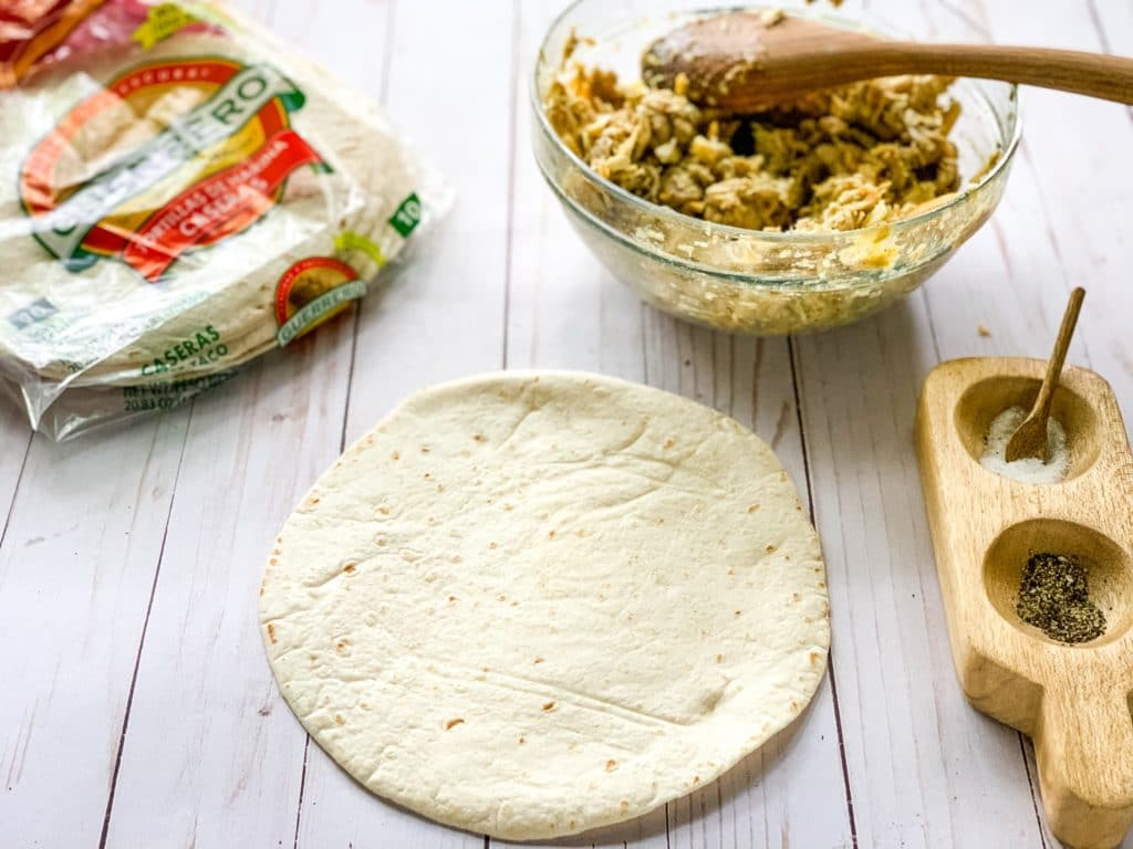 photo of flour tortilla waiting to be filled with chicken mixture