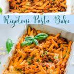 a casserole dish of rigatoni pasta