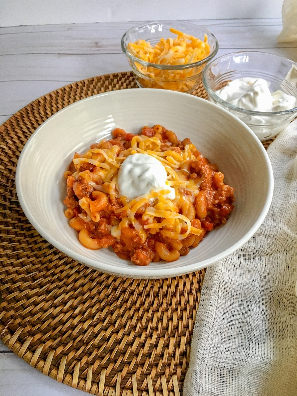 bowl of Instant Pot Chili Cheese Mac cheesy pasta