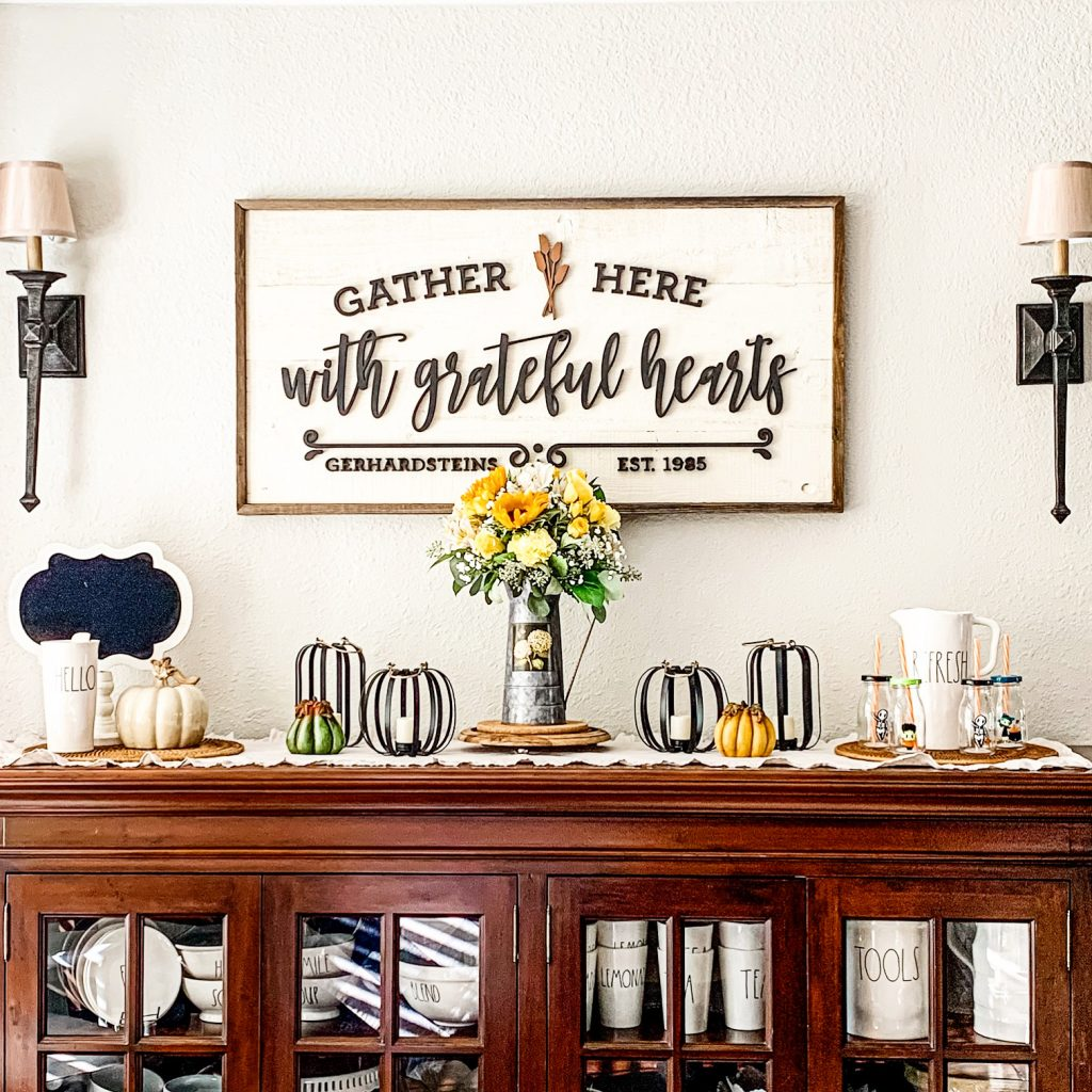 Fall Home Decor Styling on a dining room sideboard