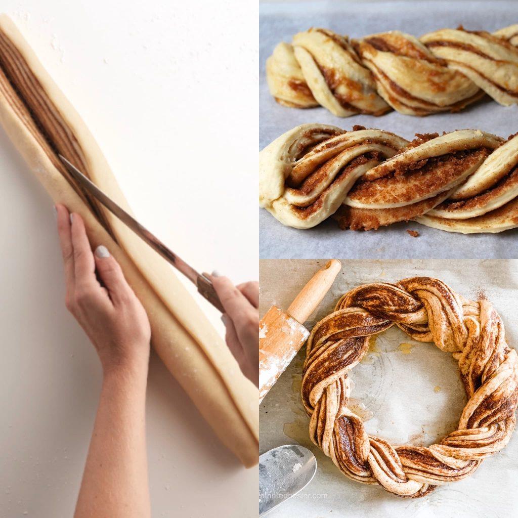 twisting the pumpkin spice bread