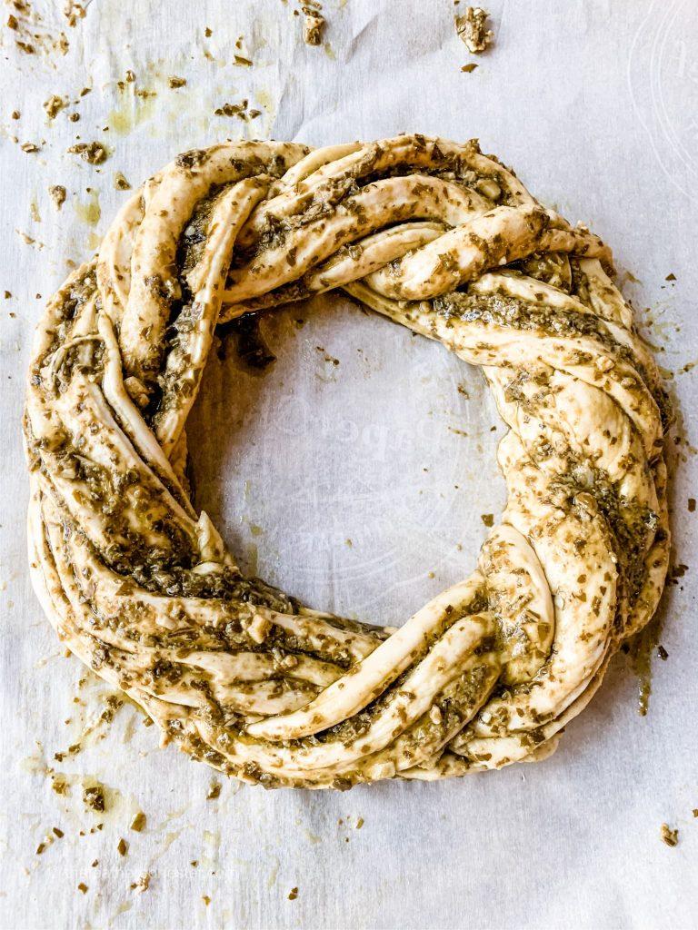 pesto bread twist made from frozen dough