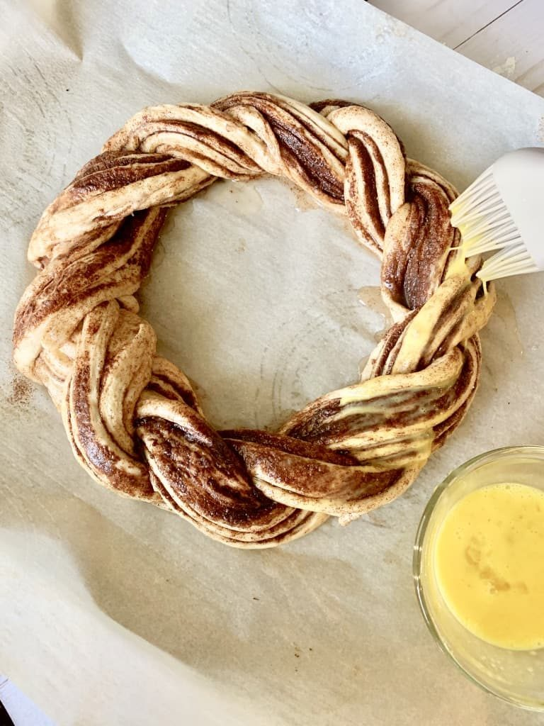 the pumpkin spice twisted bread brushed with egg wash