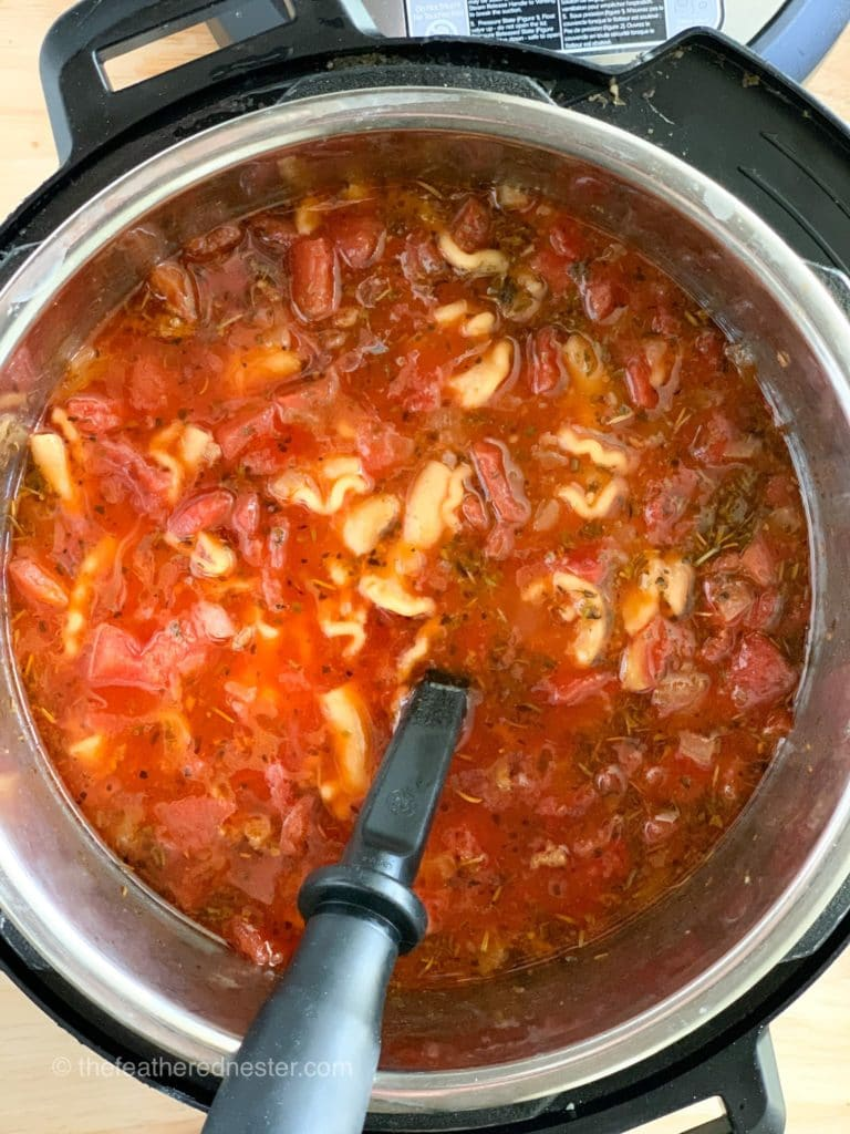 Close up of Instant Pot with the lasagna soup recipe ready to serve