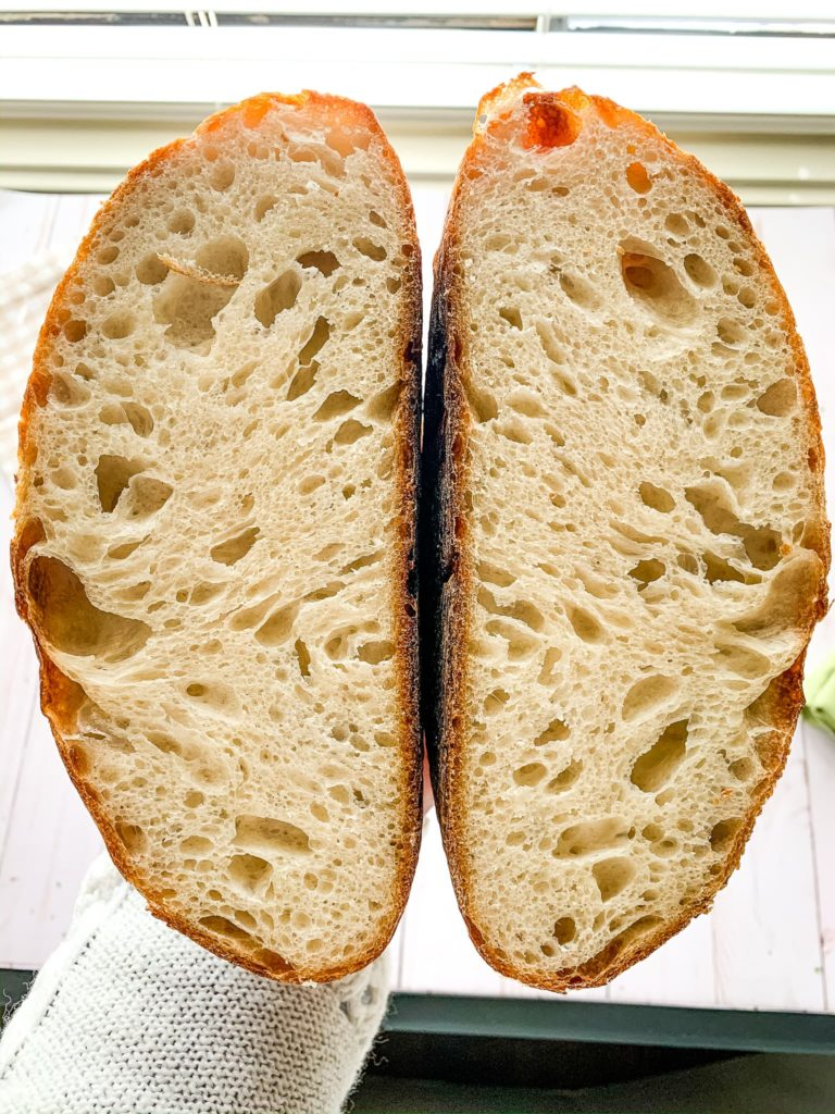 Cut natural yeast sourdough bread shown