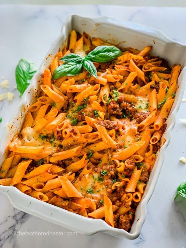 Oven Baked Rigatoni Pasta Casserole