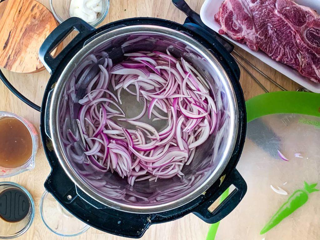 Onions sautéing