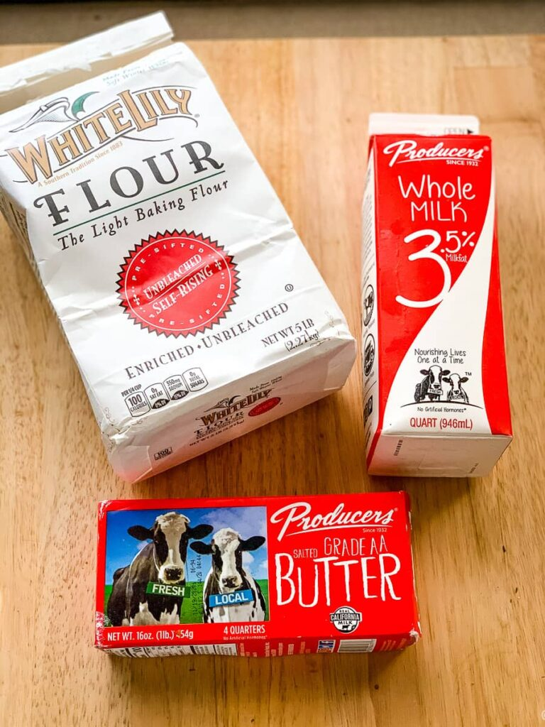 flour, milk, and butter for drop biscuits