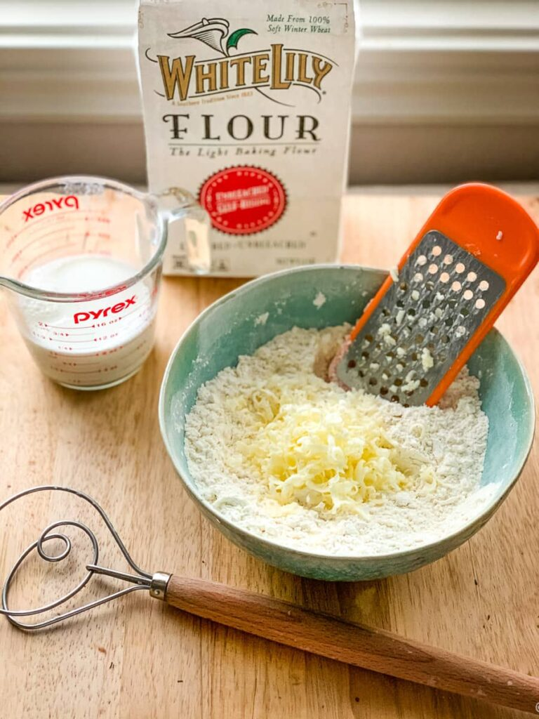 ingredients ready for self rising flour drop biscuits