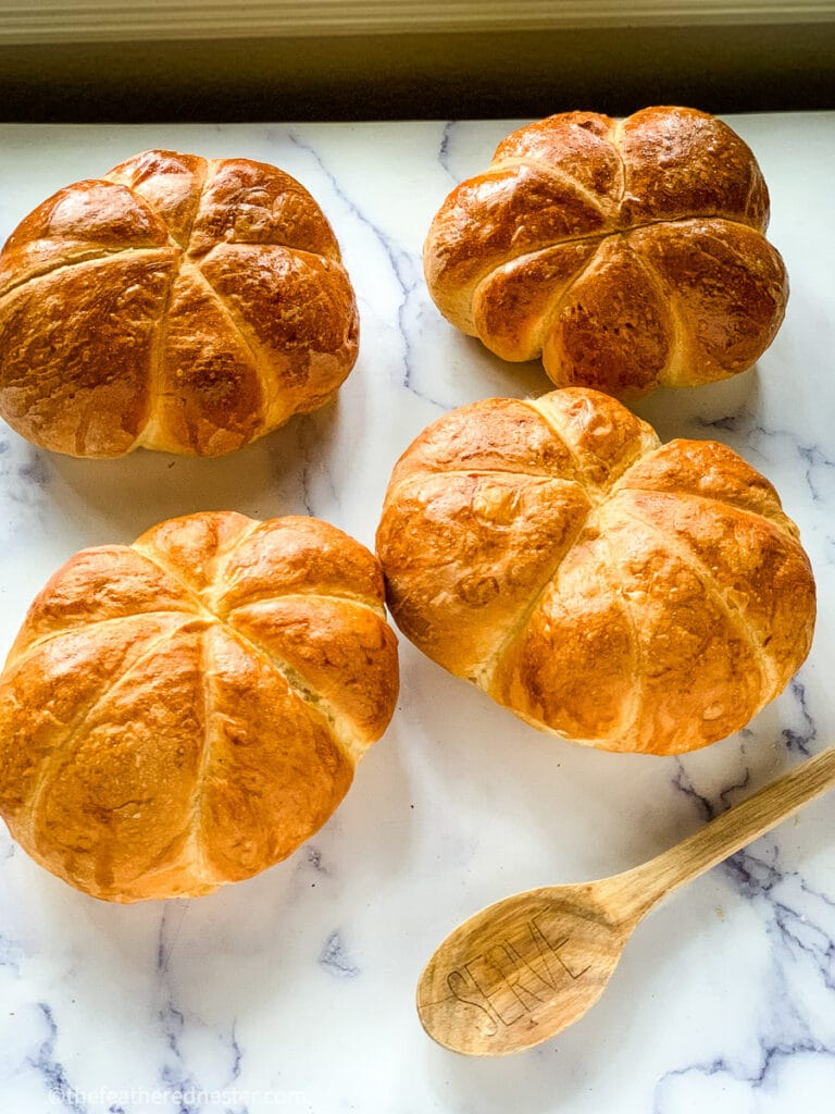homemade bread bowls from frozen dough that are pumpkin shaped