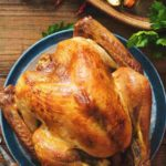 A photo of a buttermilk brined turkey with sides
