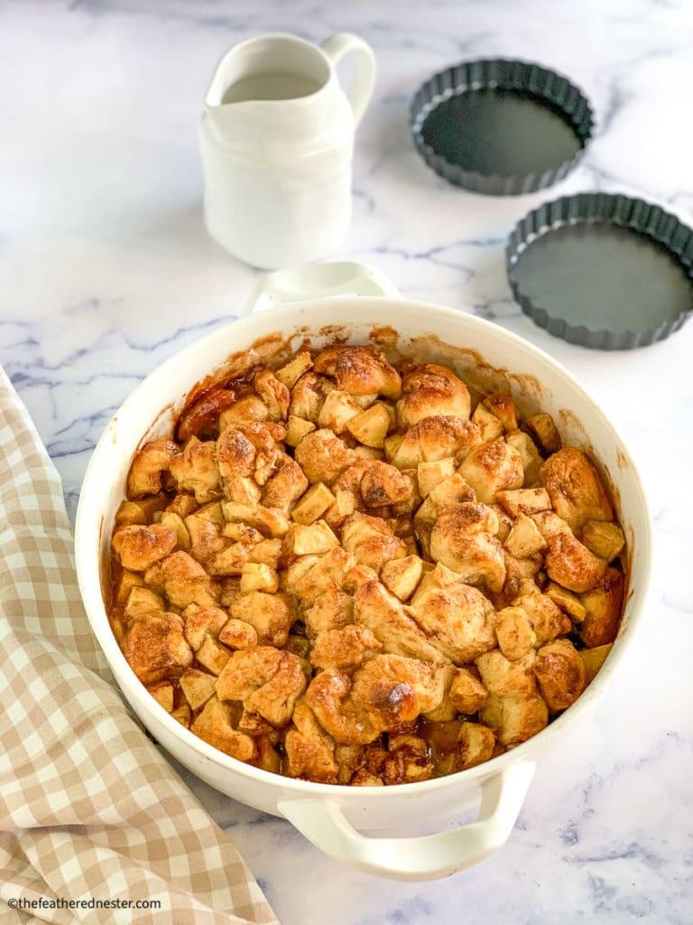apple fritter breakfast bake ready to serve - perfect overnight breakfast ideas