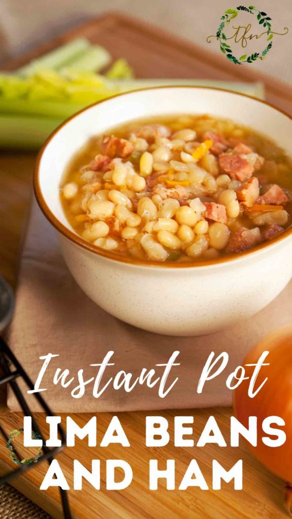 bowl of Instant Pot Lima Beans with Ham