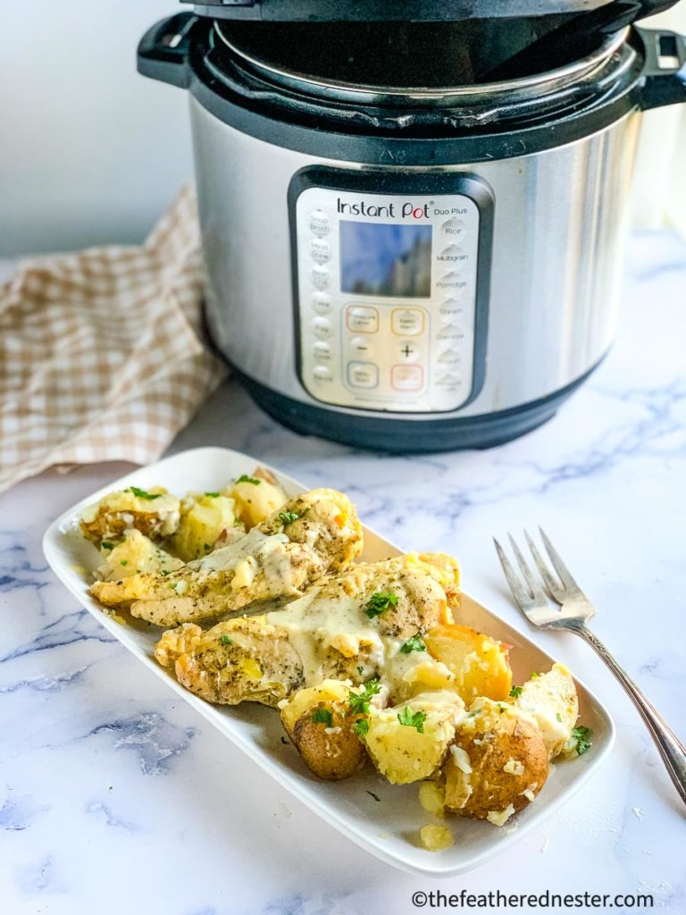 photo of instant pot creamy ranch chicken and potatoes with cream cheese
