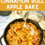 icing drizzled on a skillet of Cinnamon Roll Apple Bake