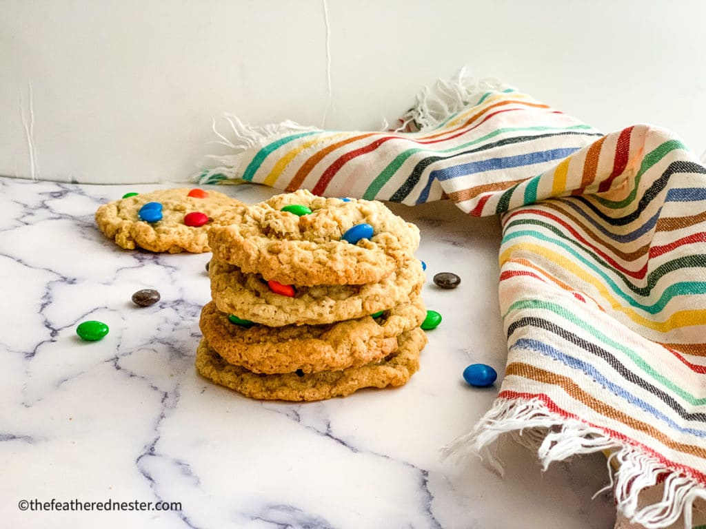 a stack of M&M Cookies