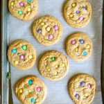 A baking tray of cookies with M&Ms