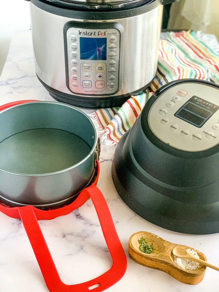 sling, round pan, instant pot air fryer lid, and instant pot in background
