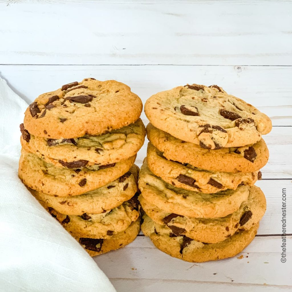 stacks of chocolate chip cookies