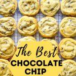 Cooking rack of chocolate chip cookies