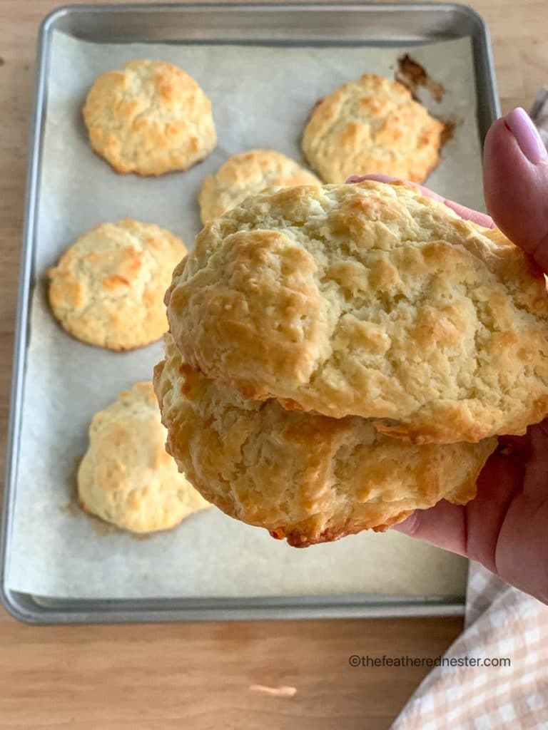 closeup of biscuit from the buttermilk biscuit recipe