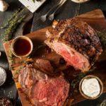 a cut holiday prime rib roast ready to serve