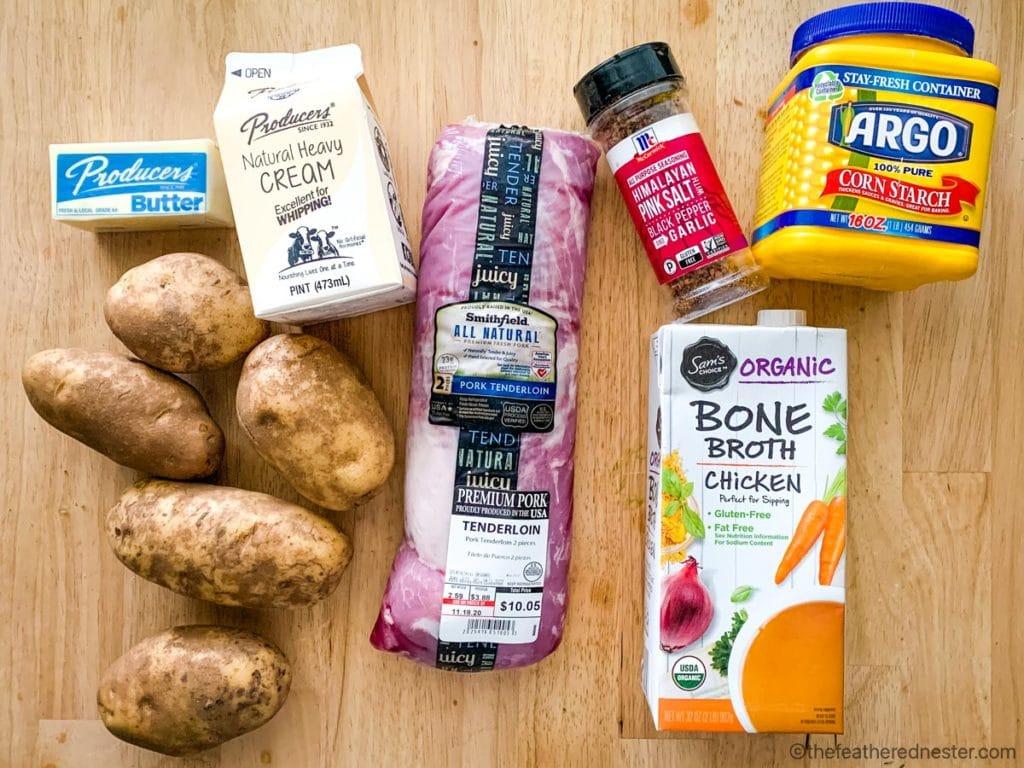 chicken broth, potatoes, cream, butter, pork tenderloin, corn starch, and all purpose seasoning