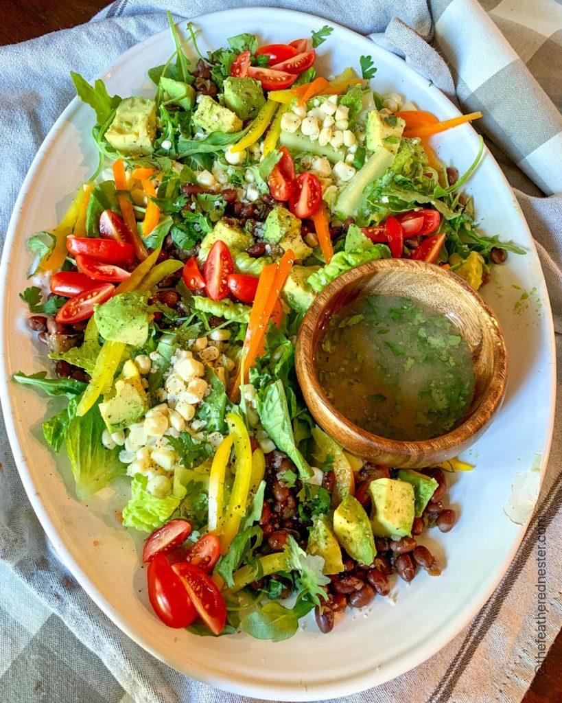 a platter of cowboy salad ready to serve