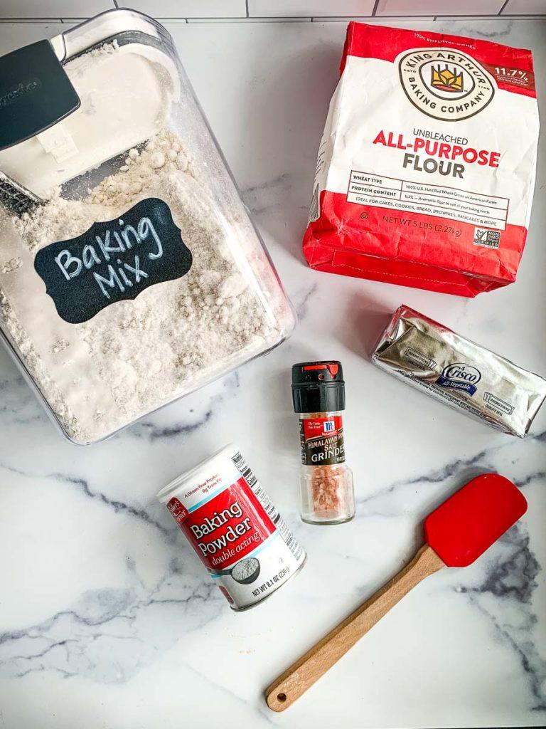 homemade bisquick mix with flour, shortening, baking powder, and salt