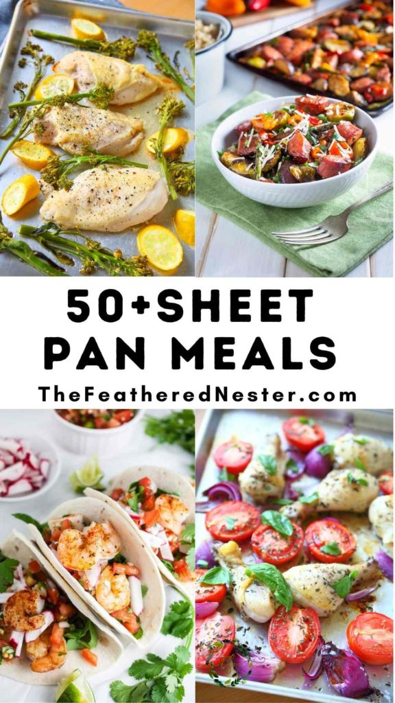 A collage of sheet pan dinners