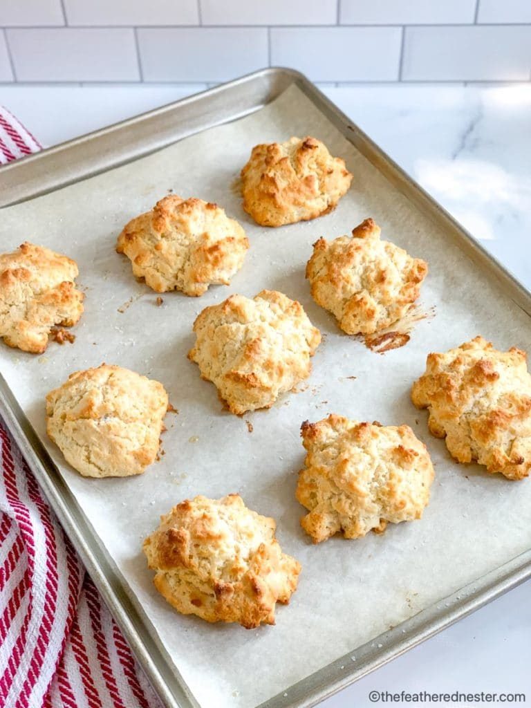 a baking sheet of freshly baked Bisquick biscuits