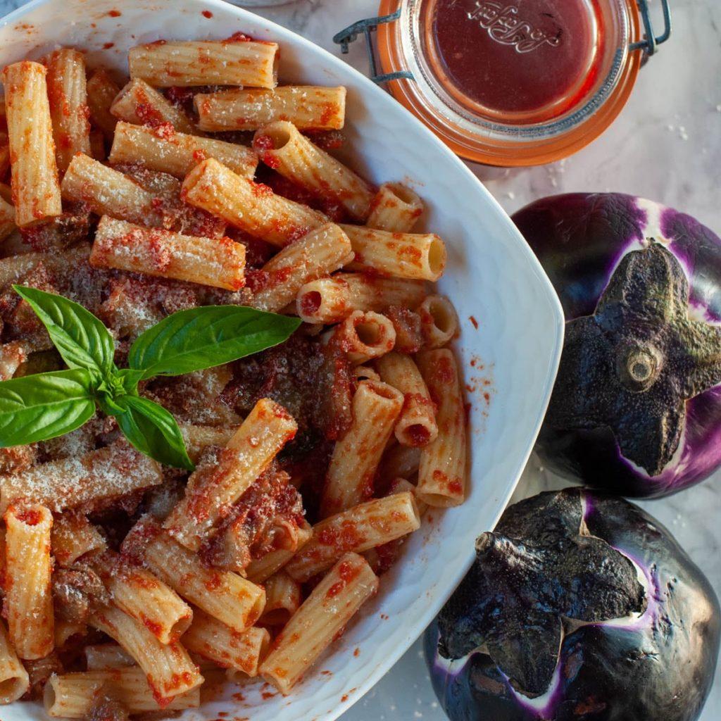 a bowl of traditional alla norma pasta