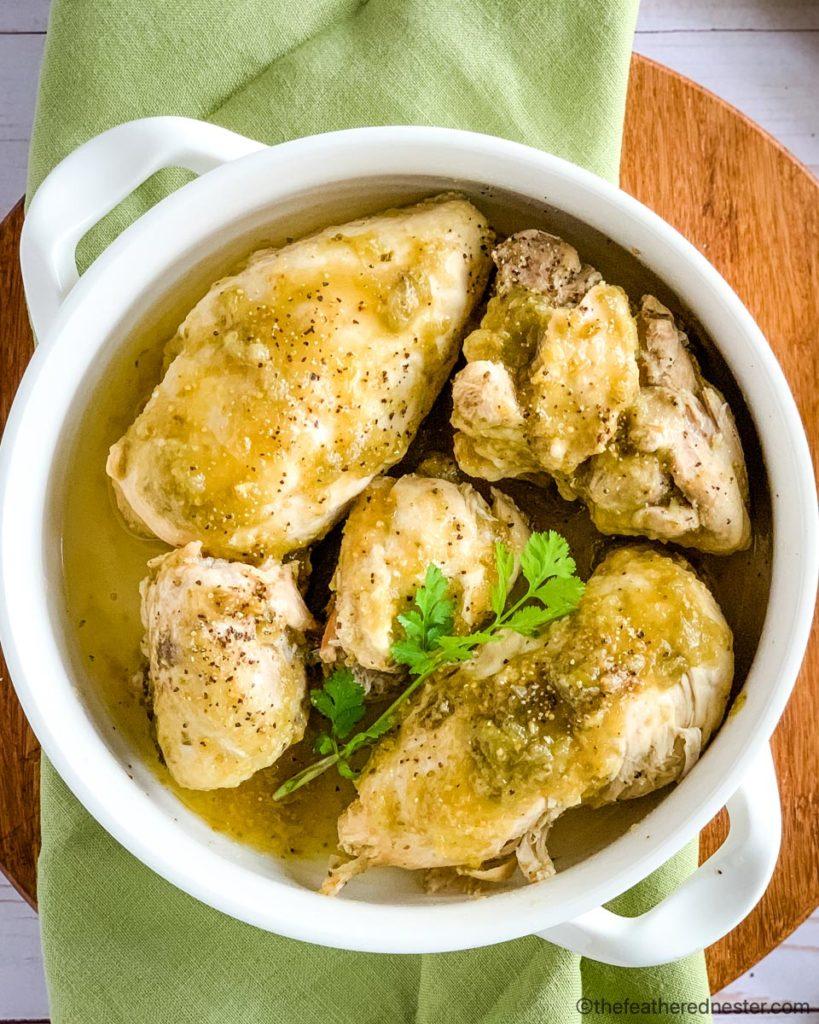 a casserole dish of Instant Pot Chicken Salsa Verde