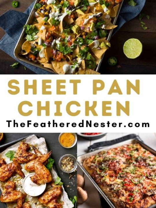 a collage of sheet pan chicken recipes