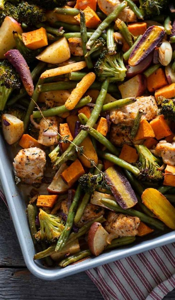 A baking sheet with chicken and veggies