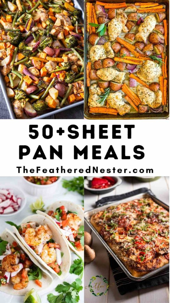 a collage of one pan meals