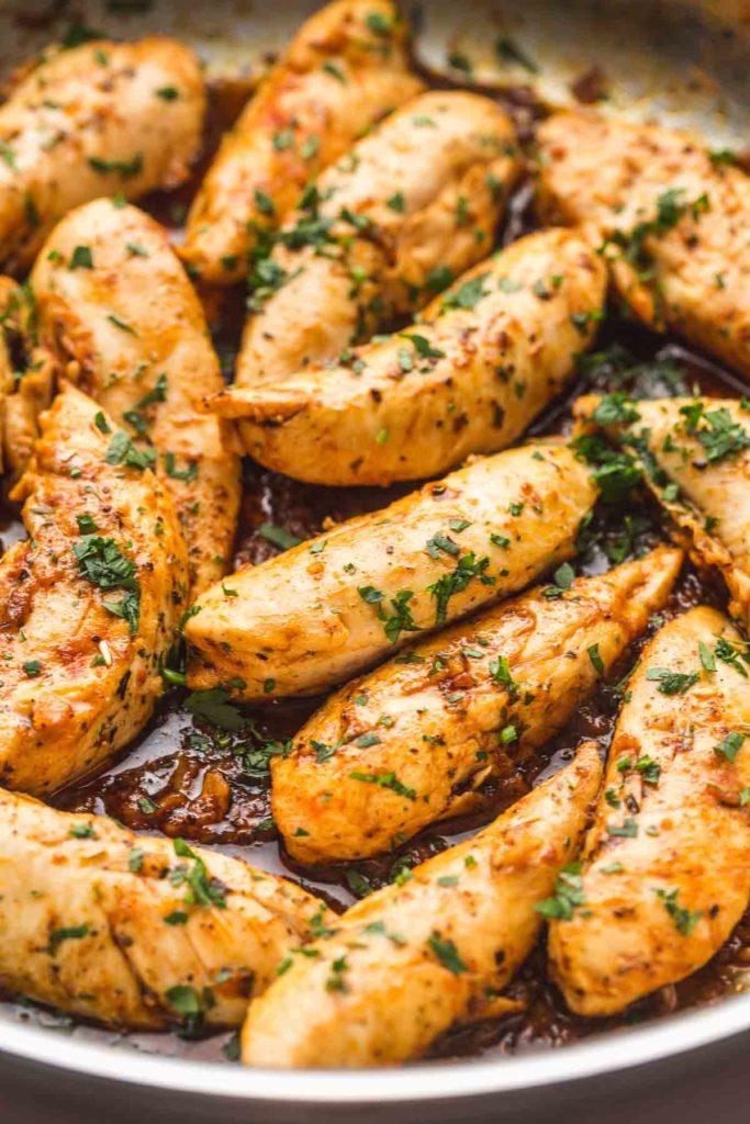 a plate of garlic butter chicken tenders