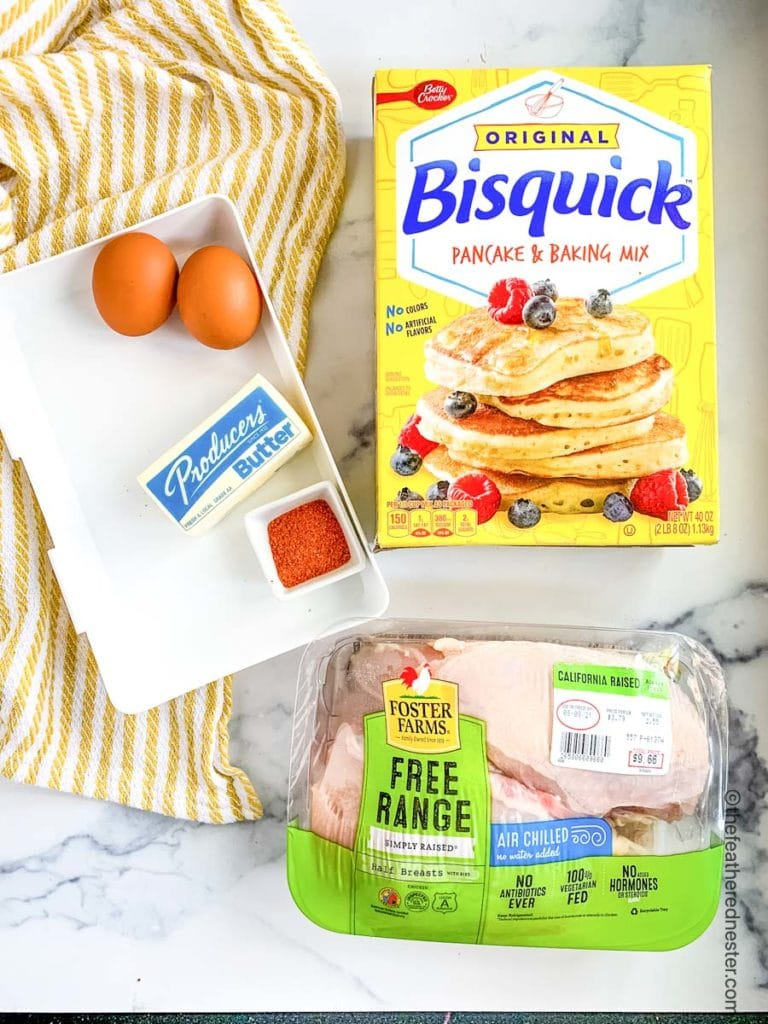 Bisquick chicken ingredients with original bisquick, eggs, butter, spices, and chicken