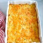 white casserole dish of Cracker Barrel hash brown casserole