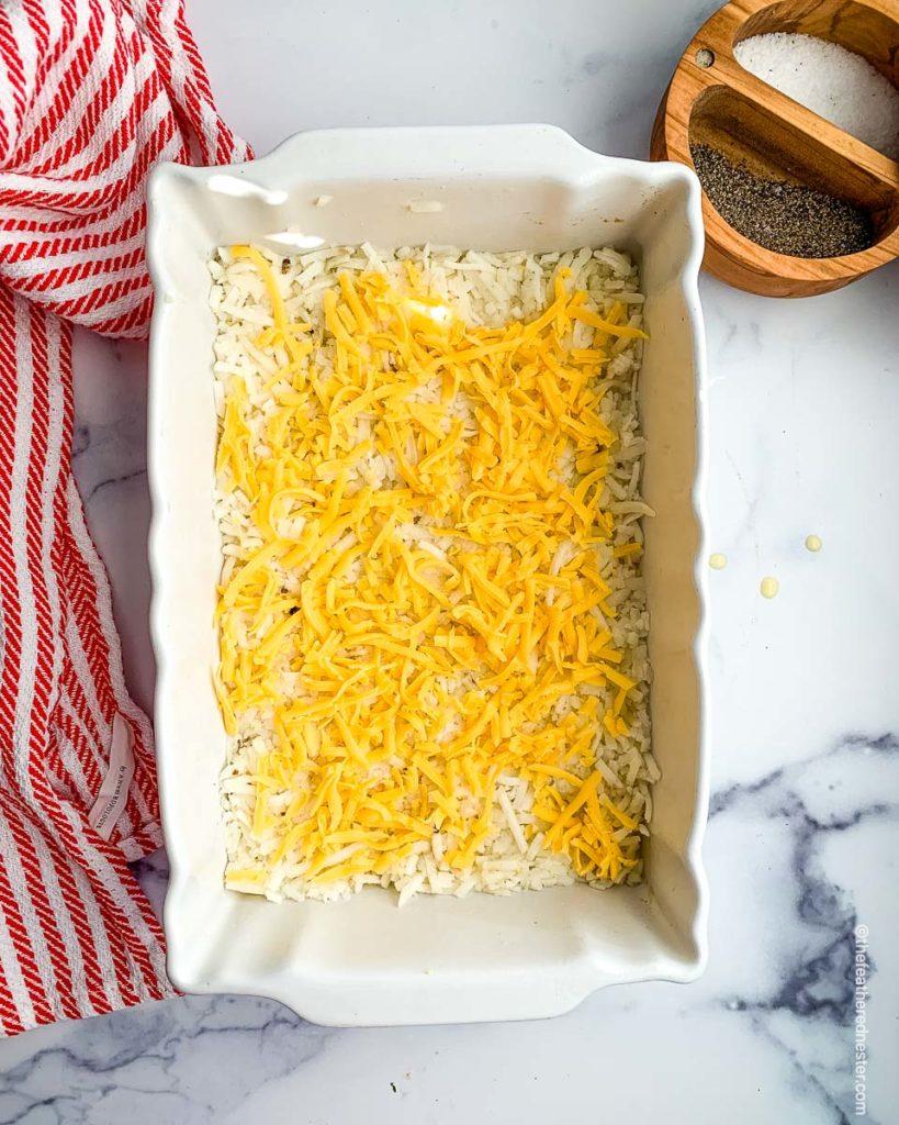 a casserole dish of breakfast casserole ready to bake