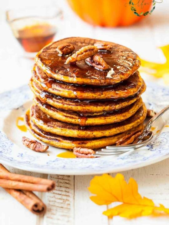 a stack of Bisquick pumpkin pancakes